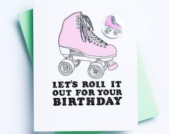 Roller Skate Pin Card