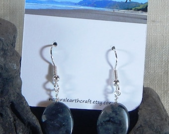 Flashy gray larvikite earrings twisted ovals labradorite semiprecious stone jewelry packaged in a colorful gift bag 3148 A B