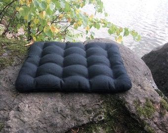 Hemp floor cushion with Buckwheat hulls Black /Organic pillow/buckwheat/ pillow seat/Meditation Yoga Organic/Natural