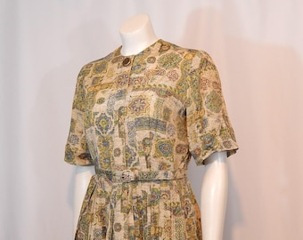 Vintage Dress 50s Fifties Large L Medallion Print Tan Beige Cornflower Blue Green Gold Short Sleeves Full Pleated Skirt Belt Kay Windsor