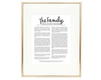 The Family Proclamation Black and White - LDS Quote Wall Art AZ240