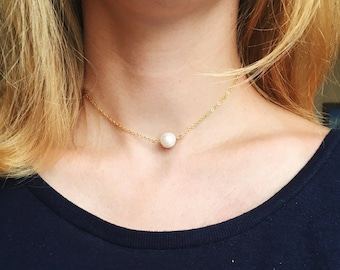 Pearl Choker Necklace Gold Choker / Short Pearl Necklace / Everyday Necklace