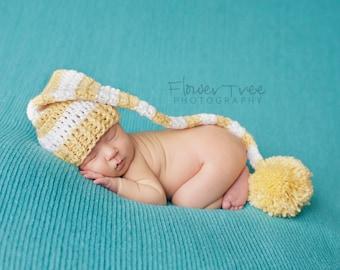 Newborn Elf Hat, Newborn Pom Pom Hat, Long Tail Hat, Sleepy Time Cap, Mr Sandman Hat, Newborn Stripe Hat, Crochet Infant Hat, Baby Elf Hat