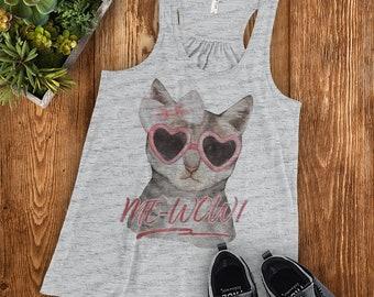 Me-Wow Cat | Racerback Tank Top Ladies' Women's | Kitten Kitty Lover Sassy Funny Meow