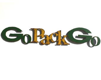 """Packers Go Pack Go logo 45"""" wide metal wall art steel green yellow rust patina"""