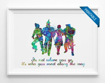 Printable Wizard of OZ quote printable instant download colorful art nursery art for kids posters watercolor digital download (043)