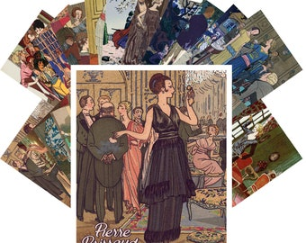 Postcards Set 24pcs * Pierre Brissaud Vintage Ponchoir Art Deco La Vie Parisien CC1115