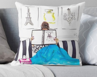 Sunday Funday (Pillow) (Fashion Illustration art  Home Decor Gift Ideas  Gifts for Her Wedding Gifts Graduation Gifts Birthday Gifts)