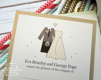 Scottish Bride and Groom Postcard Wedding/Evening Invitations