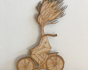 Tree Bicycle wooden figurine