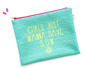 Girls Just Wanna Have Sun Bag, Waves Wet Bag, Blue Water Resistant Bikini Bag, Typography Beach Zipper Pouch, Recycled Canvas