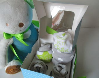 Diaper cake; Cup cake box.  Bodysuit, bib; socks; Gray and green tone and her cub