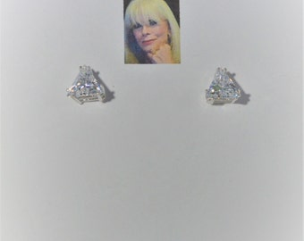 8 mm Triangle CZ Sterling Silver Stud Earrings CSS181E