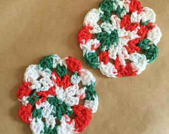 Pair of Crocheted Coasters, Christmas Colors, Crochet, Handmade Gift, 100% Cotton, Made in CA, Stocking Stuffer, Kris Kringle