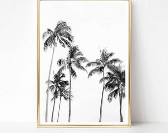 Palm Trees Print, Tropical Wall Art Prints, Palm Print, Black and White Prints, PRINTABLE Art, Minimalist Palm Tree Art, Large Poster Print