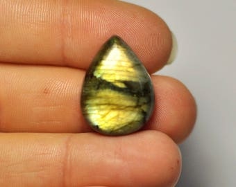 Natural Blue Gold Flash Labradorite Cabochon Gemstone Pear shape Ring size. 23x17x7.5 mm. 23.45 Cts. G53