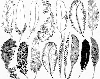 Hand Drawn Feather Clip Art, Feather Silhouette & Coloring Line Art for Card Making, Invitation, DIY Prints, Brush + Digital Stamp