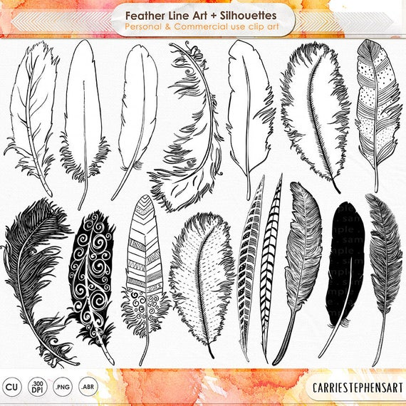 Tattoo Line Drawing Software : Hand drawn feather clip art silhouette coloring