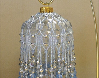 Beaded Fancy Fringed Ornament Cover - Beading Instructions - Ice Blue