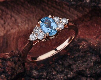 Aquamarine Engagement Ring Rose Gold, Aquamarine Rose Gold Ring, Rose Gold Aquamarine Engagement Ring, Aquamarine Engagement Ring, Rose Gold