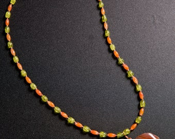 Carnelian and glass necklace