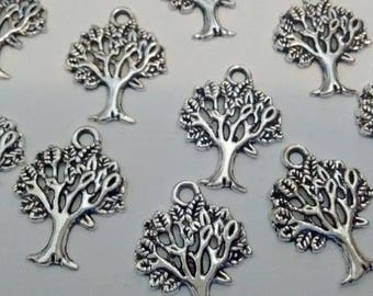 Clearance! 10 Silver Tree Charms Pendents : Jewelry Making Findings - Jewelry DIY - #146