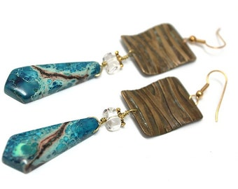 Womans long Earrings, boho, Wavy Gipsy 2,  dangle, modern, bohemian, turquoise, gift for her, inspirational, Free shipping!
