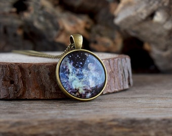 Dark universe necklace, Night blue galaxy necklace, Starry universe pendant, Galaxy pendant, Universe jewelry gift, Galaxy jewelry UJ 088