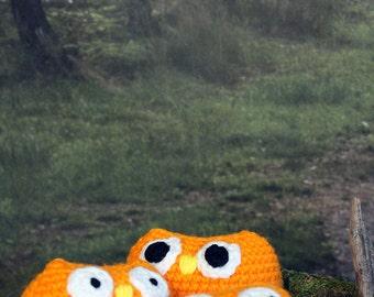 Orange Owl Stuffed Animal, Crochet Amigurumi Plush Toy