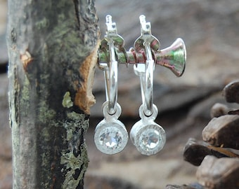 White Topaz Hoops, Sterling Silver Hoop Earrings, Topaz Earrings, Clear Gemstones, Silver Earrings, Silver White Topaz, Silver Studs, Topaz
