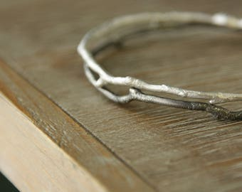 Twig Bracelet, Sterling Silver Bracelet Bangle Bracelet, handmade, gift for her, eco friendly, branch twig woodland, women