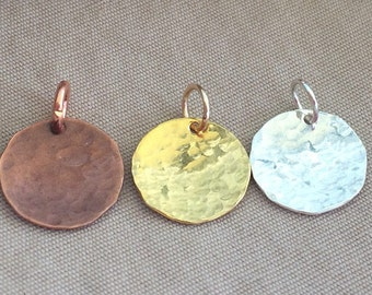"1/2""  Hammered Disk - Disk Charm - Round Hammered Charm - Round Hammered Disk - Disk Charm - Hammered Pendant - Gold, Silver, Copper"