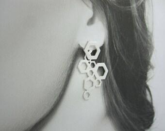 Earring Jackets, Unique Earrings, Statement Silver Jewelry, Ear Jacket Earrings, Long Earrings, Front Back Earrings,Silver Geometric Earring