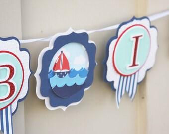 nautical banner, nautical baby banner, sailboat banner, first birthday banner, nursery decor