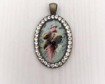 Vintage Portrait, pendant, Medallion, rhinestone, bronze, unique