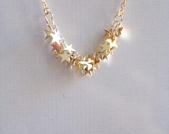Gold star necklace. Silver stars necklace. Tiny sparkling little stars. Gold or Silver necklace stars. Star jewelry