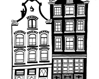 Black and white canal houses painting