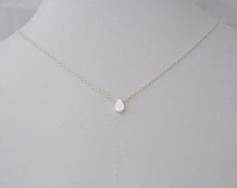 Sweet and tiny floating TEARDROP charm sterling silver necklace, delicate everyday necklace