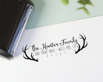 Antlers return address stamp for hunters - Self Inking or wood block return address stamp - Personalized