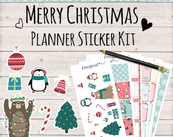 Christmas planner sticker kit, planner sticker christmas, December planner sticker, , SK014