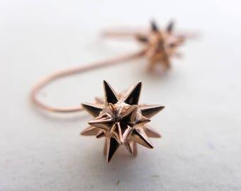 Moravian Star - Christmas Earrings - Star Earrings - Holiday Earrings-Christmas Star-Mathematical Jewelry-Archimedian Solid-Herrnhuter Stern