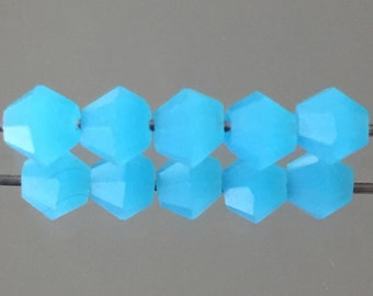 Crystal Beads - 4mm Faceted Crystal Bicone Beads - Opaque Sky Blue Turquoise Blue Crystal Beads - Package of 24 Beads (#442)