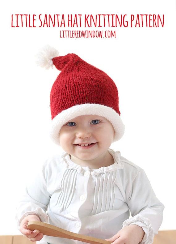 Santa baby newborn hand knit hat with yarm pom pom by t ae258e736ce6