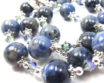 Sodalite Gemstone and Blue Green Crystal Necklace and Earring Set, Free US Shipping