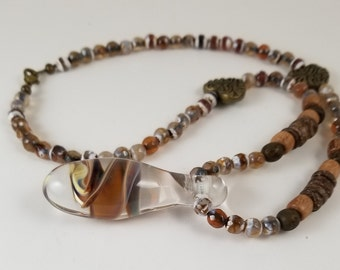 necklace, glass pendants, bead necklace, jewelry, wood beads,glass beads