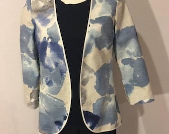 Blue & Cream/White Watercolor Jacket