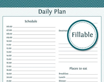 Travel Planner: Daily Planner - Fillable - Instant Download - Printable PDF  - Vacation Planner