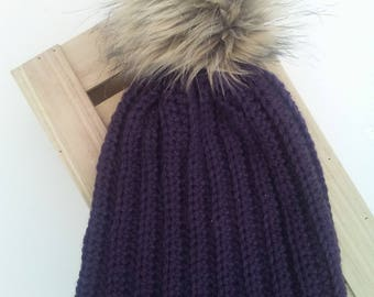 READY TO SHIP - Adult - Slouchy Ribbed Beanie with removable faux fur pompom - dark purple - Wool Blend - handmade