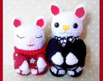 Amigurumi patterns - Japanese Maneki Neko / Lucky Cat couple - 2 Crochet Tutorial PDF