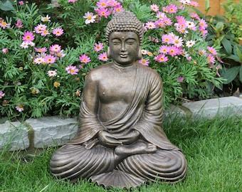 stone fan buddha garden ornament statue